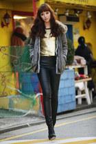 gray Dress coat - black booties beyon shoes - black faux leather Yb pants