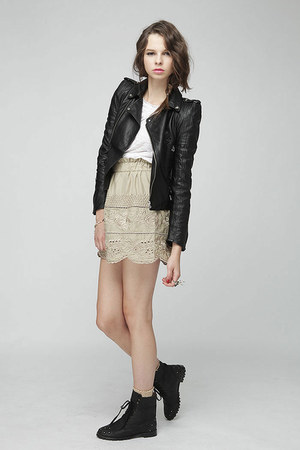 jacket - burn out t-shirt - embroidered skirt