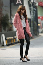 salmon Space coat - heather gray Mia top - black mock pants - black beyon shoes