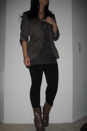 Zara blazer - Kenneth Cole top - H&M tights - Zara boots