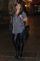 Forever21 tights - Alfani shoes - Express shirt - Zara purse