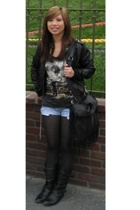 H&M jacket - The Mountain shirt - Levis shorts - Steve Madden boots - Zara purse