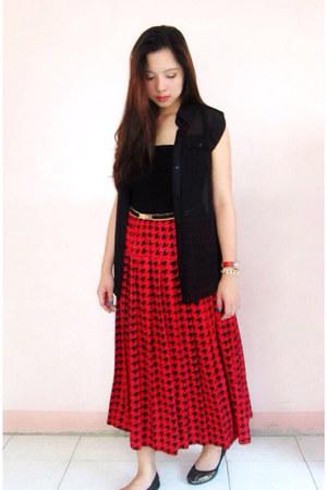 red skirt - black sheer top