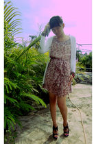 white unbranded cardigan - pink dress - black picnic shop shoes