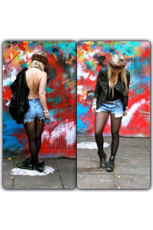 Dr Martens boots - All Saints jacket - Levis shorts - American Apparel top