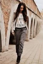 silver Bershka blazer - black pull&bear boots - white Bershka shirt