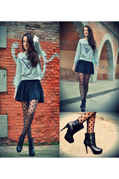 Stradivarius skirt - VJ-style boots - silver chicnova sweater - Primark tights