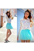 aquamarine Bershka skirt - white VJ-style shirt - aquamarine Lefties flats