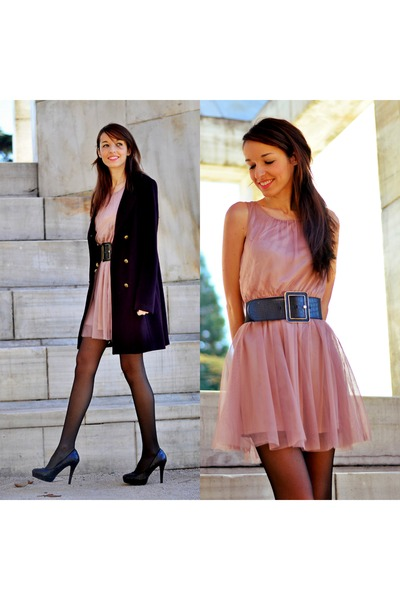 purple Ikks coat - light pink H&M dress