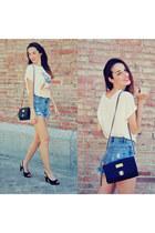 black xti bag - sky blue choiescom shorts - ivory 6ks t-shirt