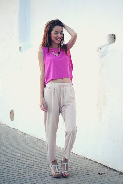 light pink baggy pants VJ-style pants