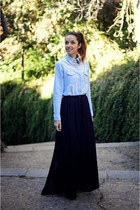 black long skirt Zara skirt - sky blue denim shirt choiescom shirt