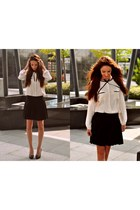 black drbloom skirt - white Ikks blouse - black BLANCO heels