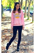black xti boots - black Stradivarius jeans - light pink Sheinside sweater