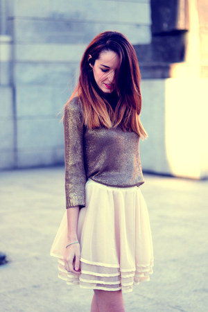 cream tulle skirt Sheinsidecom skirt