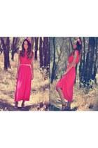 coral VJ-style dress