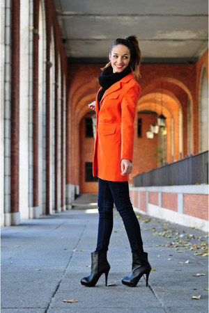 carrot orange Sheinsidecom coat - black VJ-style boots