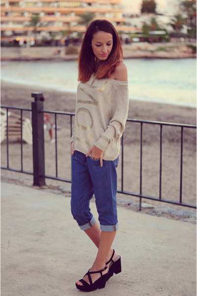 beige love choiescom sweater - black Zara heels
