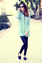 black Bershka leggings - black VJ-style shirt - aquamarine VJ-style cardigan