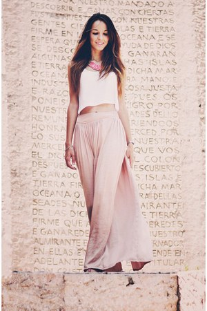 white Bershka top - nude Zara skirt