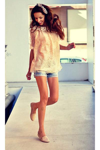 crochet miss iny blouse - jeans Stradivarius shorts - Zara flats