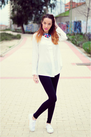 white sammydress shirt - black Bershka leggings - white Marypaz sneakers