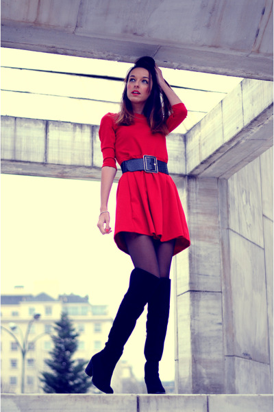 black Rosewholesale boots - red dress PERSUNMALL dress