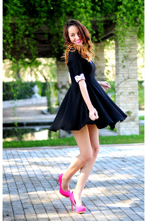 black black dress sk6 dress - hot pink heels Bershka heels