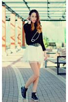 ivory tulle Sheinsidecom skirt - black jersey choiescom sweater