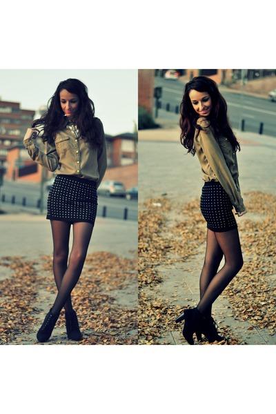black Zara skirt - dark khaki Bershka shirt