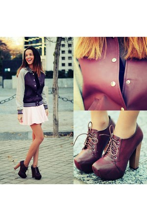brick red Forever 21 jacket - light pink skirt choiescom skirt