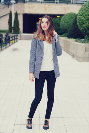 heather gray tweed VJ-style coat - ivory jersey 6ks sweater