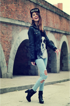 black gadea boots - light blue skinny jeans choiescom jeans