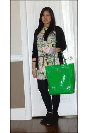 floral dress H&M dress - cynthis rowling bag - black Forever 21 cardigan