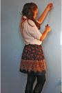White-h-m-shirt-random-skirt-red-bow-tie-diy-necklace