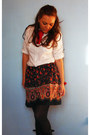White-h-m-shirt-random-skirt-red-bow-tie-diy-necklace