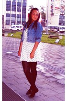 white H&M dress - black Cadenzza shoes - navy Pepe Jeans jacket