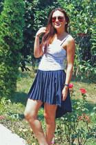 white H&M top - navy assymetrical random skirt
