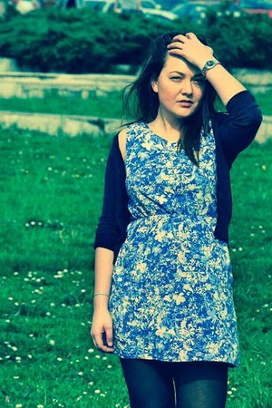blue cotton dress - black cotton H&M cardigan