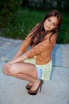 navy versace shorts - brown Bershka heels