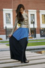 Gold-sequined-disco-pony-top-blue-asos-skirt-black-cole-haan-pumps