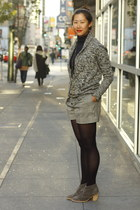 black JCrew cardigan - charcoal gray madewell boots - navy JCrew sweater