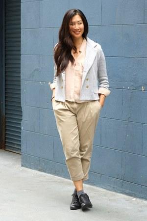 black Kimchi Blue heels - silver Cartonnier blazer - camel Cartonnier pants