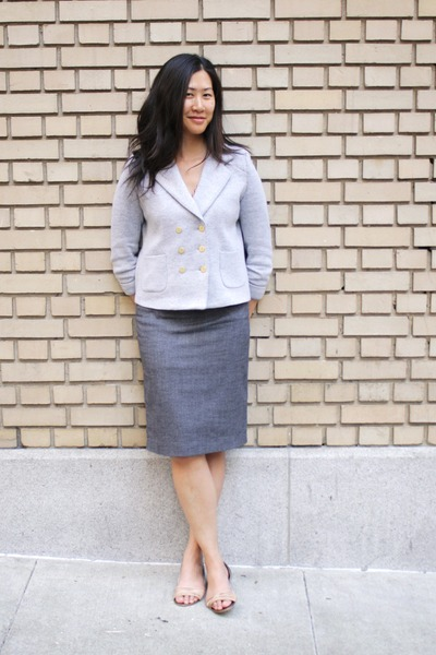 heather gray Cartonnier blazer - gray skirt