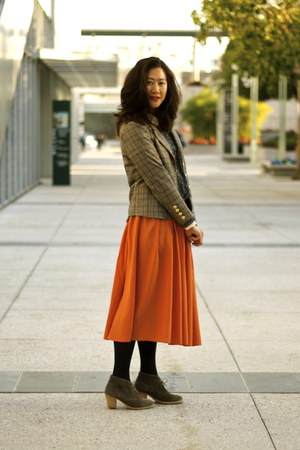camel Miss Sixty blazer - navy JCPenney tights - charcoal gray madewell heels