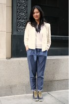 ivory lace abercrombie and fitch blazer - blue pleated Habitual pants - black Ke