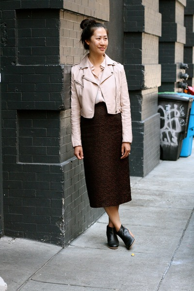 dark brown vintage skirt - light pink faux leather jacket - peach blouse