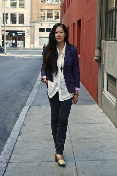 Miista boots - charcoal gray corduroy JCrew jeans - deep purple ted baker blazer