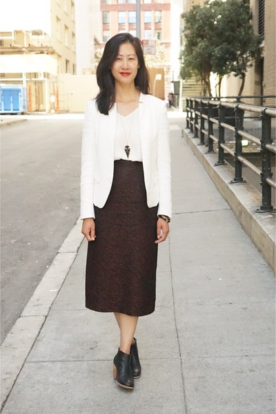 white Zara blazer - ivory Zara top - dark brown vintage skirt