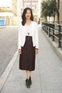 White-zara-blazer-ivory-zara-top-dark-brown-vintage-skirt